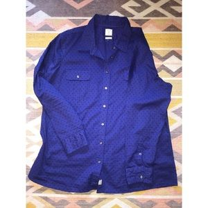 GAP Women Cobalt Blue Swiss Dot button up shirt XL
